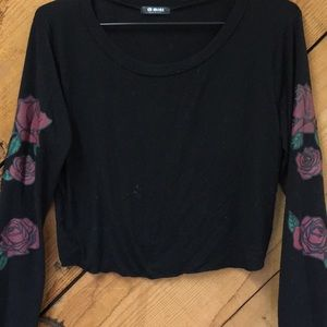 G mini black cropped rose sweater